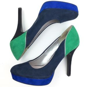 Nine & Co color-block platform pumps